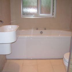 New shower, bath, and toilet fitted